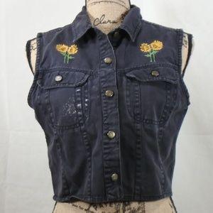 Vintage Denim Republic sunflower cropped vest